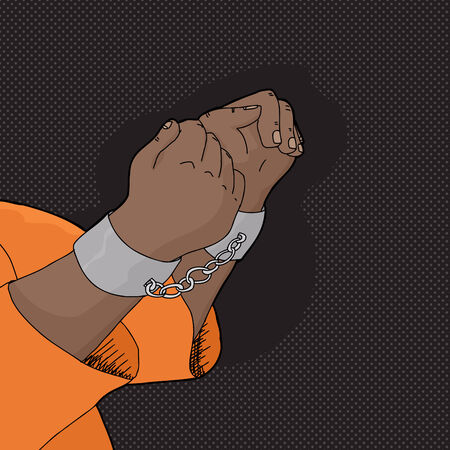 shackles: Hand drawn cartoon of hands in handcuffs Illustration
