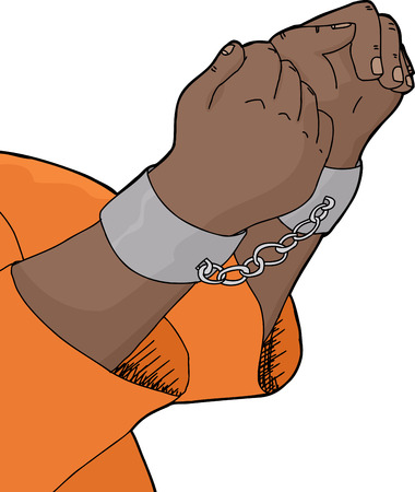 prisoner of war: Isolated cartoon of hands in pair of handcuffs Illustration