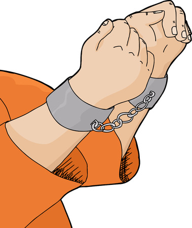 prisoner of war: Cartoon of hands in handcuffs with orange shirt