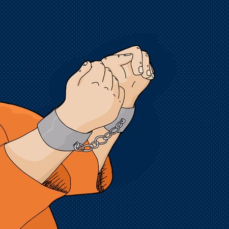 Hand drawn cartoon of prisoner in shackles