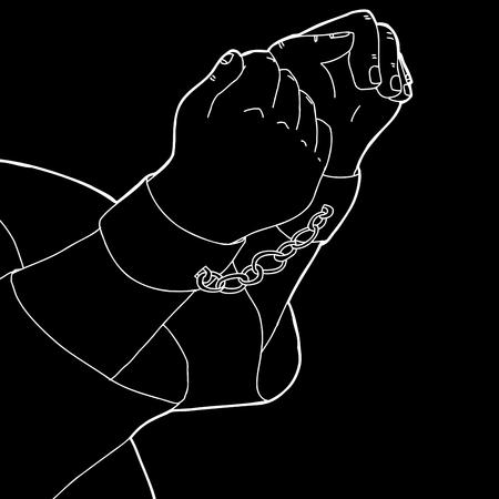 prisoner of war: White outline cartoon of man in shackles over black Illustration