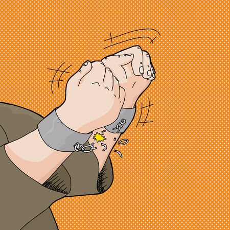 escaping: Cartoon of captive hands breaking out of handcuffs