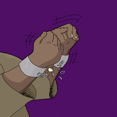 Close up of Black mans hands breaking shackles Vector