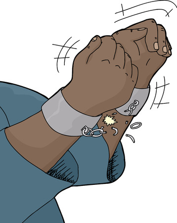 Close up illustration of hands breaking shackles over white