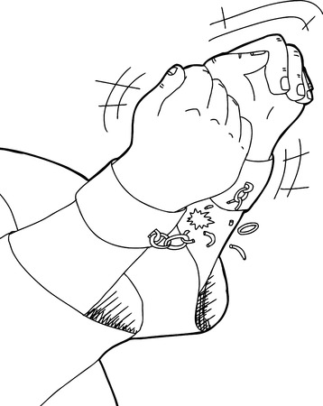 Outline cartoon of slave breaking shackles over white
