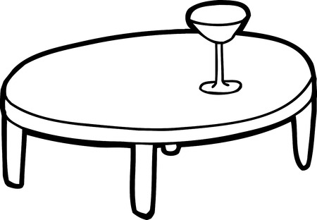 sketch out: Outline cartoon of table with drink glass on top