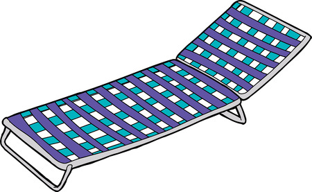 lawn chair: Blue striped deck chair cartoon over white background