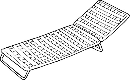 Outline cartoon of striped deck chair over white