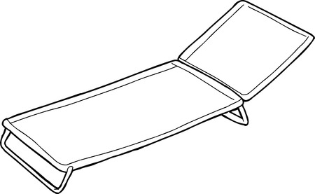 lawn chair: Cartoon outline of cot over white background Illustration