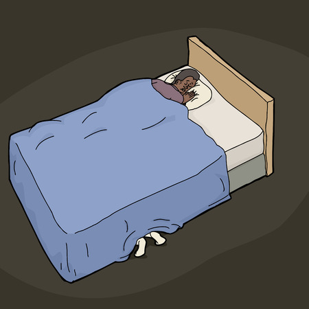 arab adult: Feet under bed of nervous man trying to sleep Illustration