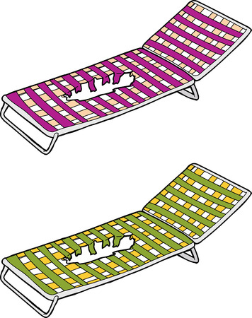 Pink and green damaged deck chairs over white Ilustração