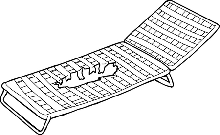 lawn chair: Outline drawing of damaged deck chair with hole Illustration
