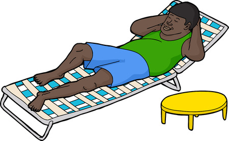 lawn chair: Hand drawn single man resting on deck chair Illustration