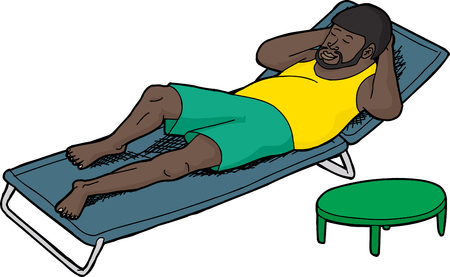 lawn chair: Sleeping Black man with beard on deck chair
