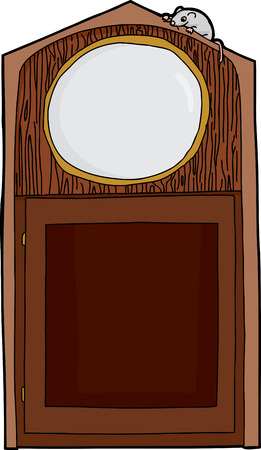 Empty cartoon antique clock with mouse on top Vector