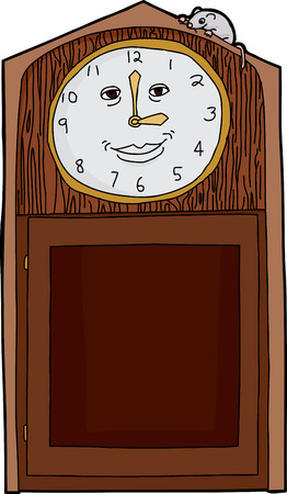 Happy face on antique clock with mouse on top 일러스트
