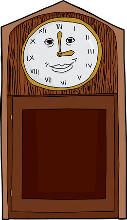 roman numerals: Cartoon antique clock with Roman numerals and smiling  face