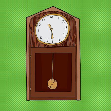 reloj de pendulo: Reloj de pared de la historieta con p�ndulo sobre verde Vectores