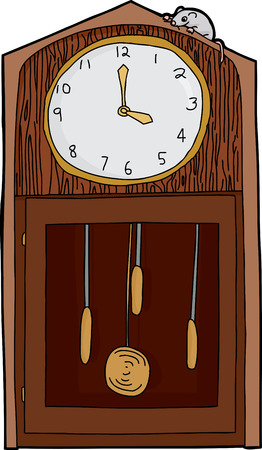 Isolated antique grandfather clock with mouse over white Vector
