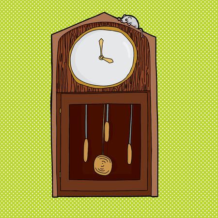 reloj de pendulo: Rat�n en la parte superior de reloj antiguo con la cara en blanco Vectores