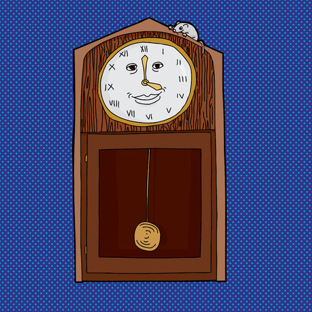 roman numerals: Grandfather clock with Roman numerals and mouse on top