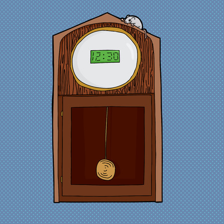 lcd: Grandfather clock with digital LCD face and mouse on top