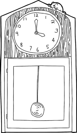 Outline of cartoon antique clock with mouse on top Illustration