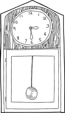 pendulum: Hand drawn cartoon antique clock outline over white