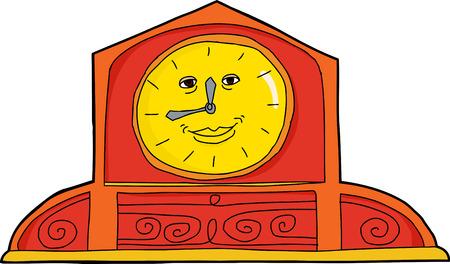 Smiling orange and yellow antique mantle clock Imagens - 36009685