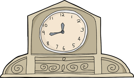 mantle: Hand drawn cartoon mantle clock over white background Illustration