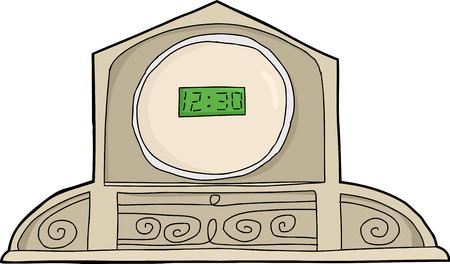 Digital clock in antique mantle frame over white Ilustração