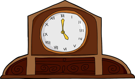 numeros romanos: Reloj de la capa de madera antigua con n�meros romanos