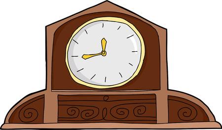 白で真っ白な顔とアンティーク木製置時計  イラスト・ベクター素材