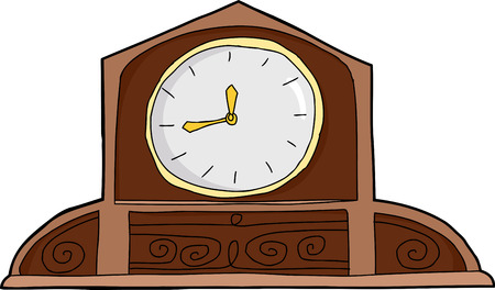 mantle: Antique wooden mantle clock with blank face over white
