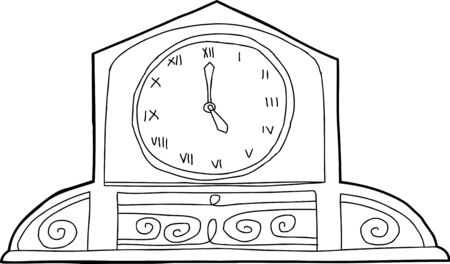 Outline of ornate mantle clock over white