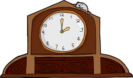 mantle: Cartoon mouse on top of ornate mantle clock