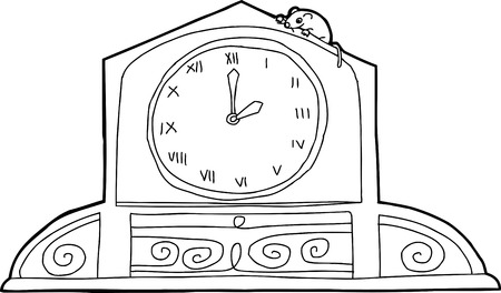 Outline drawing of mantle clock with mouse and roman numerals