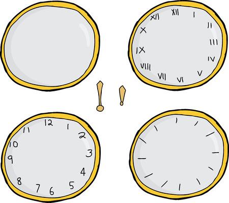 Hand drawn cartoon clock face series over white