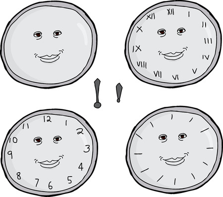 minute hand: Set of various smiling clock faces with hour and minute hand