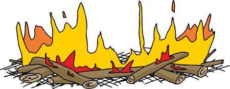 Isolated hand drawn cartoon campfire over white Illusztráció