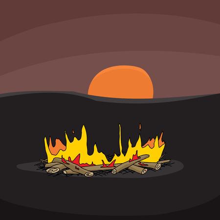 woodpile: Hand drawn cartoon campfire scene with sunset Illustration