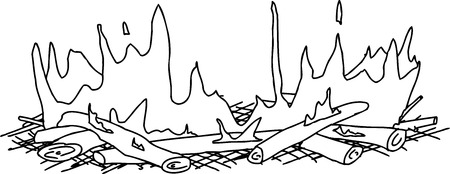 Outline cartoon of flames on sticks in campfire Vettoriali