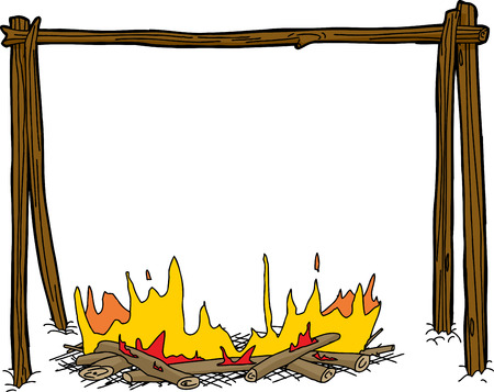 holder: Cartoon campfire with wooden kettle holder over white