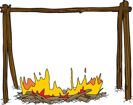 Fuoco del fumetto con il supporto di legno bollitore su bianco Archivio Fotografico - 36009746