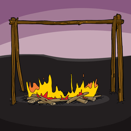 campsite: Flames burning at campsite with sticks at sunset Illustration