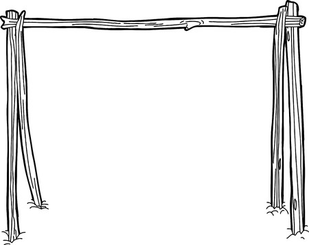 Outline cartoon drawing of sticks used for a campfire