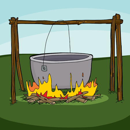Cartoon of large empty cauldron hanging over flames