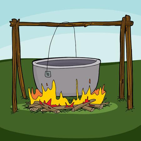 pot holder: Cartoon of large empty cauldron hanging over flames