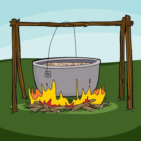 ebullition: Caricature du grand pot avec de la soupe bouillante sur feu de camp
