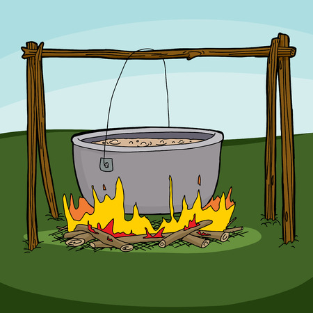 cast iron: Cartoon of large pot with soup boiling over campfire